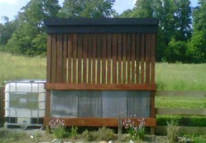 We use our home-made corn crib to store extra leaves we collect each fall.