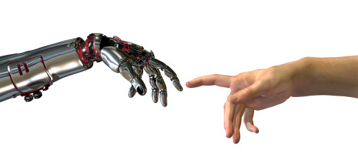 """Robot and human hands almost touching – 3D render. A modern take on the famous Michelangelo painting in the Sistine Chapel; titled, """"The Creation of Adam""""."""