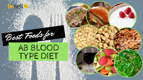 Recommended foods for people who are on an AB positive blood type diet or an AB negative blood type diet.