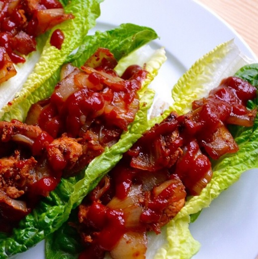 Sriracha BBQ chicken lettuce wraps. Easy. Delicious. It's for dinner.