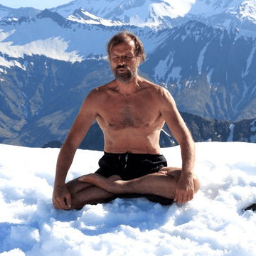 Wim Hof breathing in snow