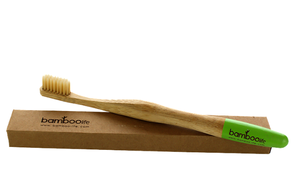 Buy a bamboo toothbrush—they are sustainable and recyclable.