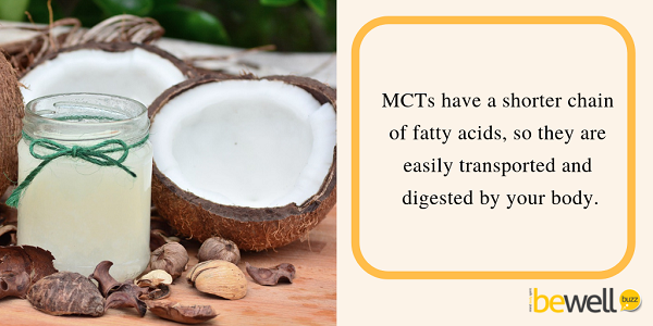 MCTs have a shorter chain of fatty acids, so they are easily transported and digested by your body.